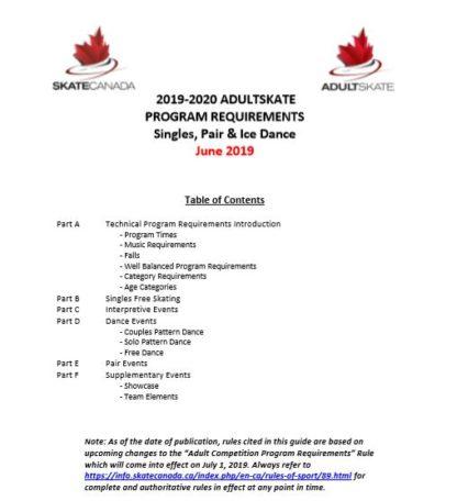 Une image d'un document contient un résumé des exigences par catégorie de patinage en simple et en couple et de danse sur glace de patinage pour adultes.
