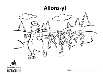 A picture of the colouring sheet showing a skating snowman with 5 skaters following in an outside winter scene.