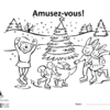 A picture of the colouring sheet showing a winter scene with skating animals around a decorated tree.