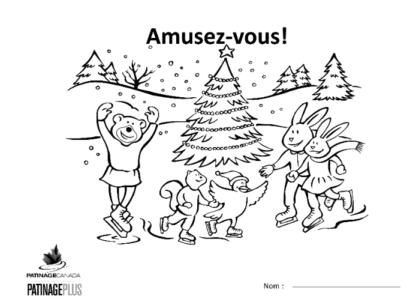 Une image de la feuille à colorier montrant une scène d'hiver avec des animaux en train de patiner autour d'un arbre décoré.