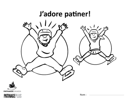 A picture of the colouring sheet showing two skaters in the air jumping with their hands over their heads.