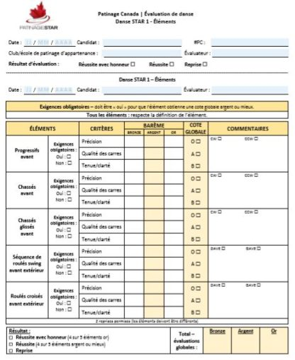 A picture of a Dance assessment sheet.