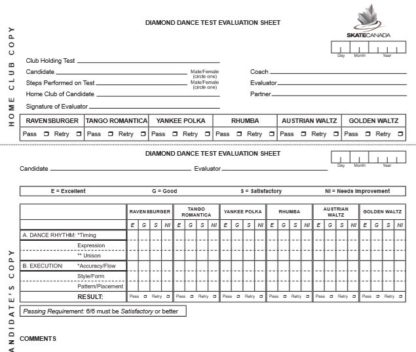 A picture of the test sheet for the Diamond Dances.