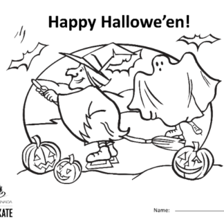 A picture of the colouring sheet showing a skating witch and ghost with jack-o-laterns and bats.
