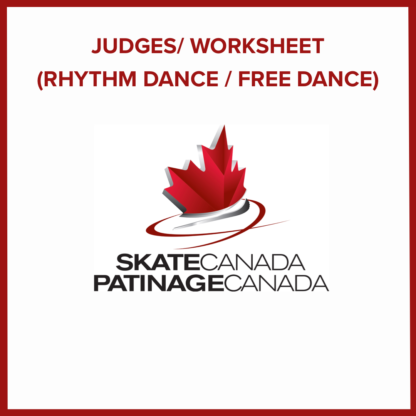 A picture of the Judge Worksheet for Rhythm and Free Dance events.