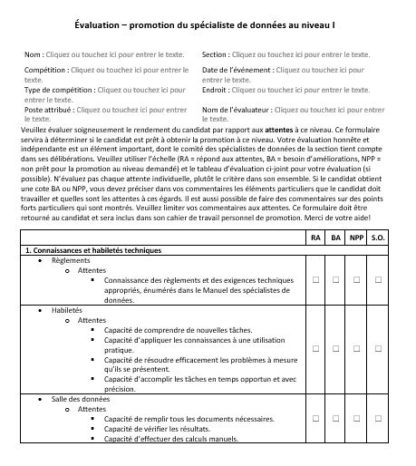 A picture of the Level I Data Specialist assessment form.