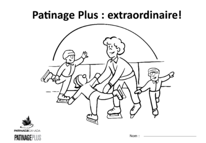 A picture of the colouring sheet showing a coach helping a skater with two additional skaters in the background.