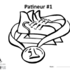 A picture of the colouring sheet showing a pair of skates with a medal around them.