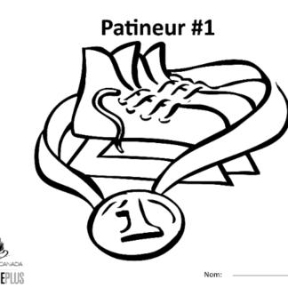 Une image de la feuille à colorier montrant une paire de patins entourée d'une médaille.