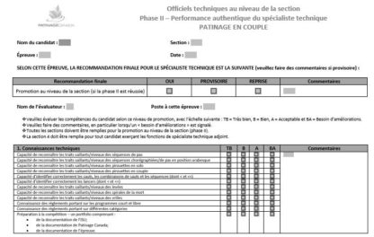A picture of the TS Phase II Assessment Form - Pairs.